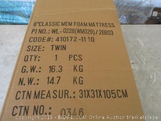 "Twin 8"" Classic Memory Foam Mattress"