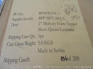 "2"" Memory Foam Topper Short Queen Lavender"