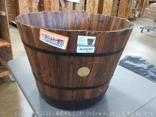 VegTrug Barrel Planter Large 55cm Burnt Oak Finish