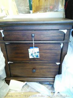 Schaffer Nightstand (online $379) Corner dented, see photos