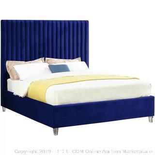 King Navy Fuiloro Velvet Upholstered Platform Bed (online $599) Bedding items in photo not included
