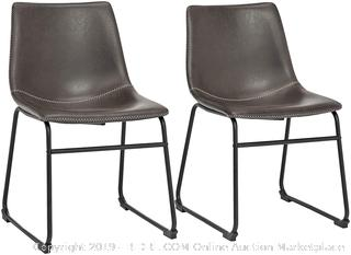 Phoenix Home Malaga Faux Leather Dining Chair Thunder Gray Set Of 2 (online $93)