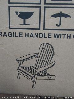 Carabelle Patio Outdoor Lawn & Garden Deck Villaret Adirondack Wood Chair (Grey) Factory Sealed (online $105)