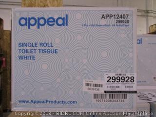 Appeal Single Roll Toilet Tissue White