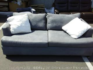 Gray sofa with couch pillows (pet hair on couch and pillows)