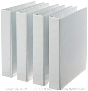 3-Ring Binder, 1.5 Inch Rings - 4-Pack (White) Factory Sealed