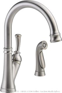 Delta Faucet 11949-SS-DST Savile, Single Handle Kitchen Faucet with Spray, Stainless (online $250)