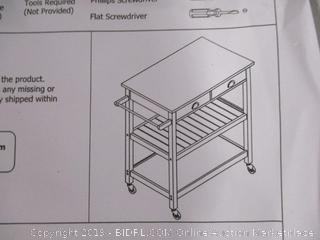 2 Drawer Rolling Kitchen Cart