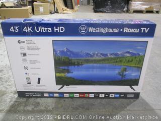 "Westinghouse Roku TV  Powers on 43"" 4K Ultra HD"