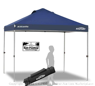 EzyFast Antipool Canopy for Rain or Sunshine, (Online $120) Portable 10x10 Pop Up Canopy, Patented Instant Shade Tent with Wheeled Carry Bag for Beach or Sports (Gray Frame)