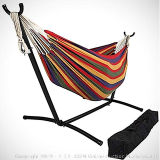 OceanTailer Brazilian Double Hammock Bed with Stand for 2 Person, Portable Hammock Bed for Indoor or Outdoor Use with Carrying Pouch in Desert Colors