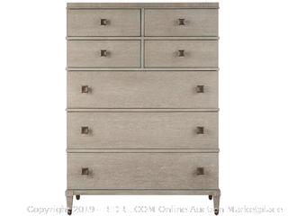 Universal Furniture Playlist 7 Drawer Chest (online $1465) two feet broken (easy fix) . corner dented see photos