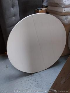 wooden circular table with extendable leaf (missing legs and scuffed)