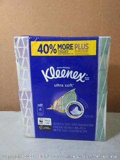 Kleenex Ultra Soft Facial Tissues, 4 Cube Boxes, 65 Tissues per Box (260 Tissues Total)