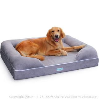"Large Dog Bed with Triple-Layer Orthopedic Foam, Memory Foam Dog Bed, Extra Large 44"" x 34"" (online $189)"