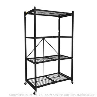 Origami General Purpose 4 Steel Collapsible Shelf Storage Rack with Wheels, Large in Black (online $111)
