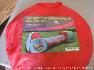 3 Pc Cubby Tunnel Teepee Pop Up Kids Play Tent