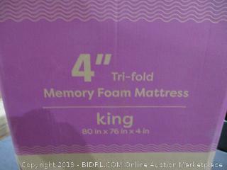 """4"""" Tri-Fold Memory Foam Mattress King"""