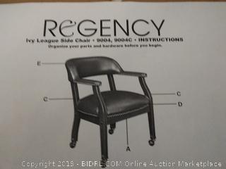 Regency Traditional Black Vinyl Barrel Side Chair