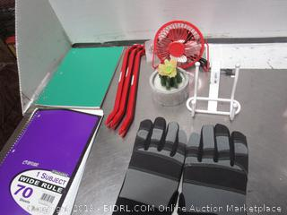 Holmes Gloves, Note Book, Desk Fan, Double End Nall Puller BAr