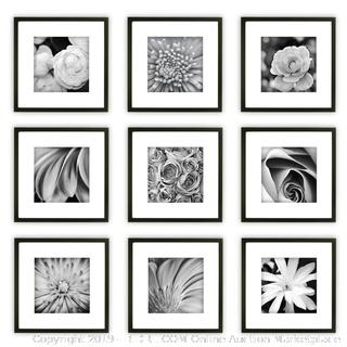 Gallery Perfect 9 Piece Black Square Photo Frame Gallery Wall Kit with Decorative Art Prints & Hanging Template (online $79)