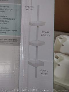 Zenna Home Tension Corner Shower Pole Caddy, White