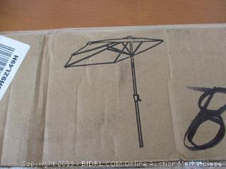 FLAME&SHADE 9' Half Outdoor Patio Market Umbrella with Tilting, Navy Blue
