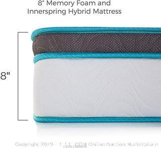 Linenspa 8 Inch Memory Foam and Innerspring Hybrid Mattress Twin XL