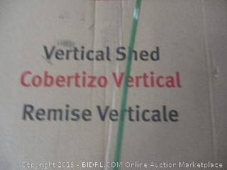 Rubbermaid vertical shed - damaged, possibly incomplete, box damage