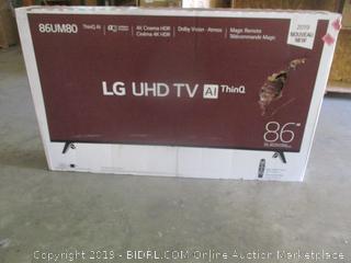 """LG UHD 86"""" TV - powers on"""