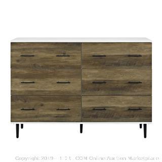"52"" Reclaimed 6-Drawer Storage- White/Rustic Oak Dresser (Retail 389.99$)"