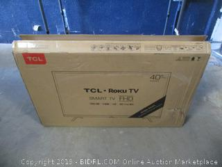 """TCL Roku TV  40"""" Smart TV  FHD New Powers On, tested damaged box See Pictures"""