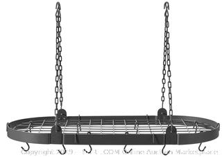 Old Dutch Oval Pot Rack with Grid 12 Hooks, Graphite