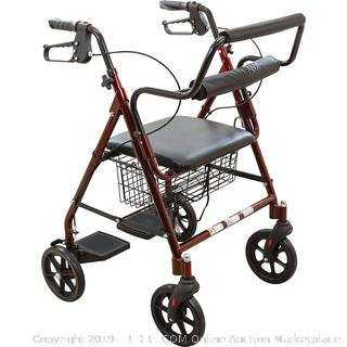 aluminum transport Rollator 8in Wheels burgundy- factory sealed/box damaged (online $118)