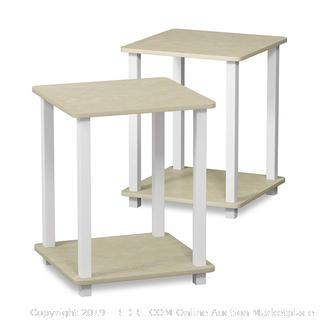 Furinno 12127CRM/WH Simplistic Set of Two End Tables, Cream Faux Marble Factory Sealed