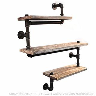 Reclaimed Wood & Industrial Heavy Duty DIY Pipe Shelf Shelves Steampunk Rustic Urban Bookshelf 3 Tier Real Wood  Factory Sealed (online $119)