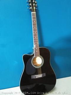 Jameson Guitars Full Size Thinline Acoustic Electric Guitar with Free Gig Bag Case & Picks Black Left Handed (online $107)