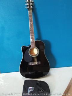 Jameson Guitars Full Size Thinline Acoustic Electric Guitar with Free Gig Bag Case & Picks Black Left Handed (online $107)