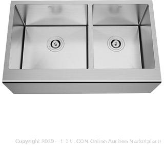 TORVA 33 Inch Farmhouse Kitchen Sink Apron Front 60/40 Double Bowl Flat Front 16 Gauge Stainless Steel(Factory Sealed/Box Damage) COME PREVIEW!!!!! (online $348)