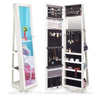 TWING Jewelry Organizer Jewelry Cabinet 360 Rotating, Lockable Standing Wall Jewelry Armoire with Full Length Mirror Large Jewelry Armoire Cabinet (online $133) Photo shows mirror and inside of cabinet