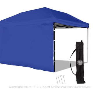 Punchau pop-up canopy tent blue with side panel (Online $99)