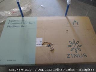 Zinus upholstered diamond stitched platform bed, queen size