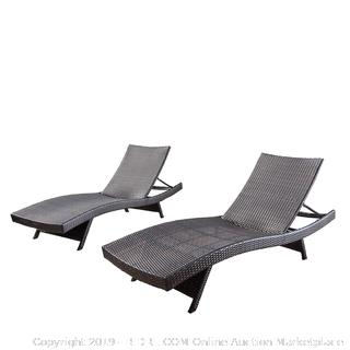 Christopher Knight Home 294919 Lakeport Outdoor Adjustable Chaise Lounge Chair (Set of 2) (Retail $299.00)