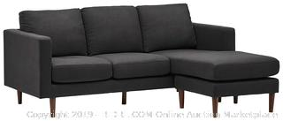 "Rivet Revolve Modern Reversible Chaise Sectional, Storm Grey, 80"" W (Retail 844.00$)"