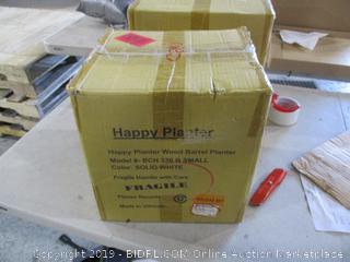Happy Planter wood Barrel Planter