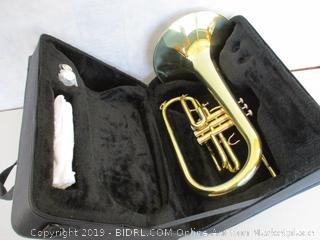 Moz Advanced Monel Pistons Marching Mellophone Key of F with Case and Mouthpiece-Gold Lacquer Finish (Retail $380)