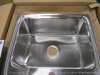 Elkay DLR2522101 Gourmet Lustertone Stainless Steel Single Bowl Top Mount Sink with Single Faucet Hole