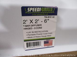 "Speedi-Grille 2'x2'-6"" T-Bar Diffuser Hinged - 3 Cone"