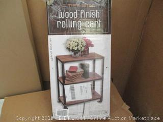 3 Tier Wide Wood Finish Rolling Cart