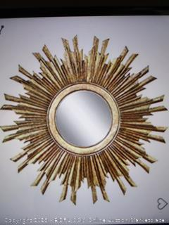 Creative Co-op Round Sunburst Mirror With Gold Finish (Sealed)